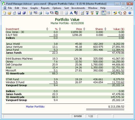 investment portfolio report assignment sle investment and portfolio management software fund