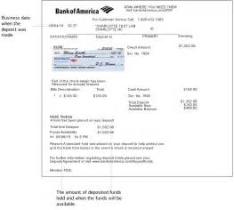Certified Letter Bank America image of an atm deposit receipt showing the deposit date amount of