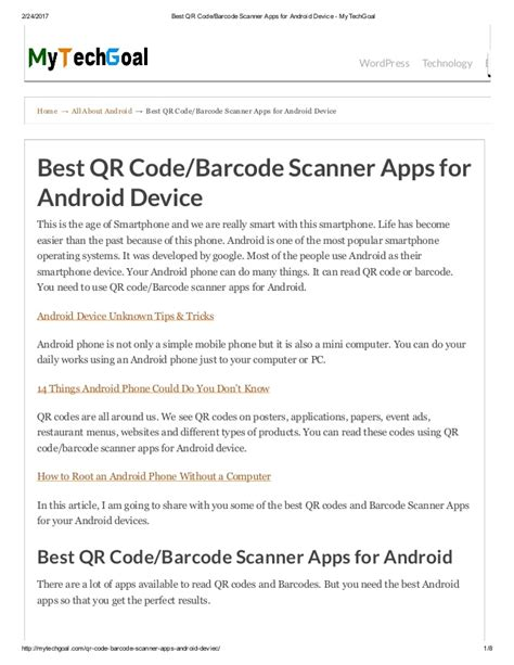 scanner apps for android best qr code barcode scanner apps for android device