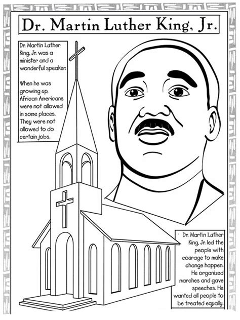 Martin Luther King Coloring Pages For Kindergarten martin luther king jr coloring pages and worksheets for