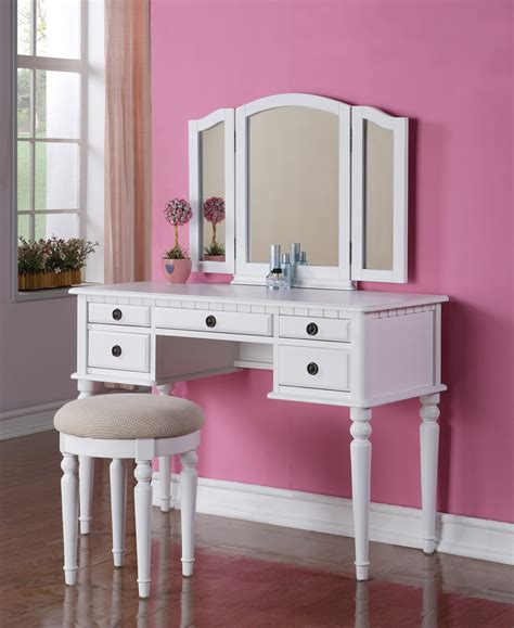 Mirrored Makeup Vanity Table Beautiful 3 Pc White Finish Vanity Table Mirror Stool Makeup Set Ebay
