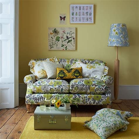yellow floral couch decorating with country colours housetohome co uk
