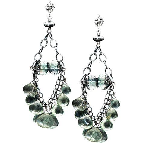 Sterling Silver Chandelier Earrings Moss Aquamarine Sterling Silver Chandelier Dangle Earrings From Btwisted On Ruby