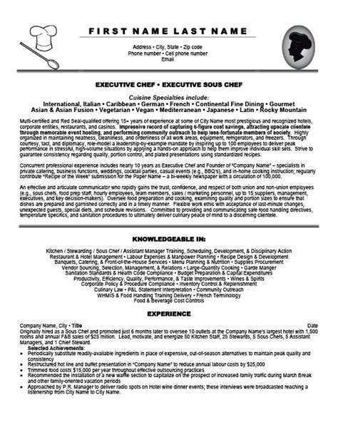 best executive chef resume sles executive sous chef resume annecarolynbird