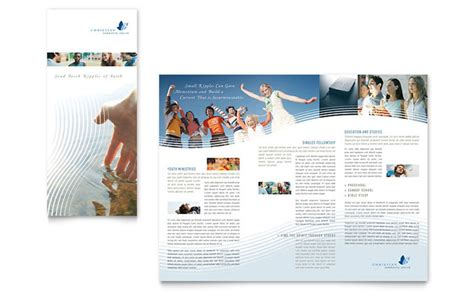 free church brochure templates christian ministry tri fold brochure template design