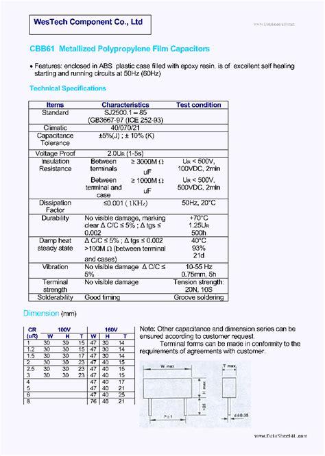 capacitor data sheet pdf cbb61 1380233 pdf datasheet ic on line