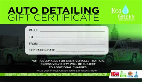 automotive gift certificate template gift certificates ecogreen mobile detailing