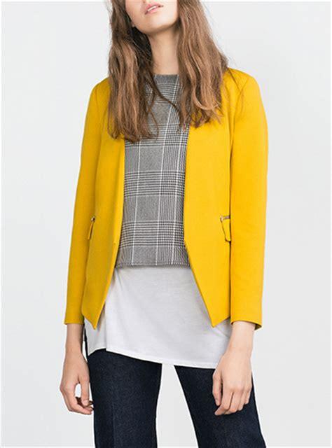 color blazers womens mustard color blazer no collar zip pocket