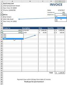 excel billing invoice template automated invoice in excel easy excel tutorial