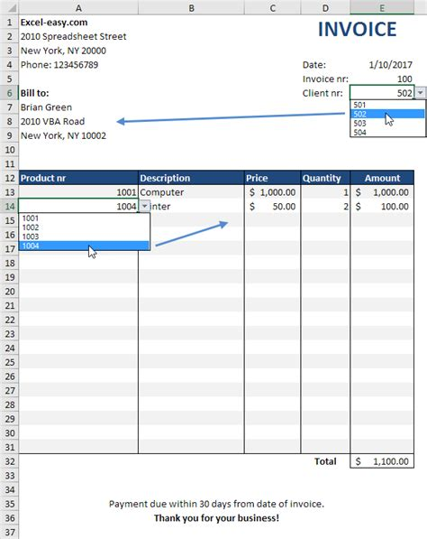 how to create a invoice template in excel automated invoice in excel easy excel tutorial