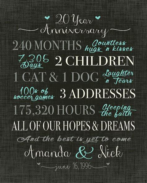 20 Year Anniversary Gift, Wedding Anniversary Gift Print