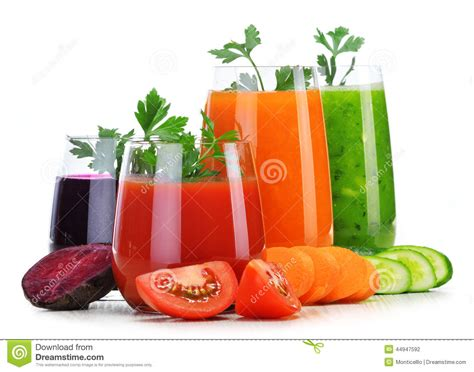 Fresh Fruit Juice Detox Diet by Glasses With Fresh Vegetable Juices Isolated On White