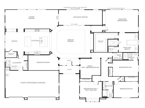 single story 5 bedroom house floor plans for single