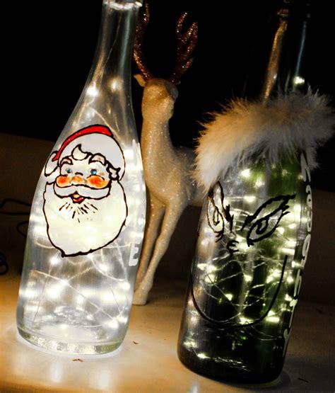 wine bottle christmas lights christmas wine bottles painted christmas decore