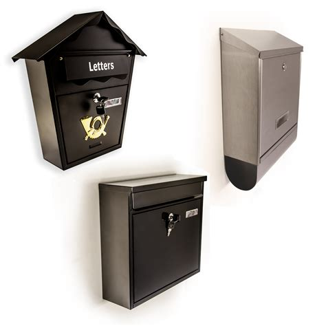 Weatherproof Letter Boxes Secure Metal Home Outdoor Mail Post Letter Box Wall Mounted Lockable With Key Ebay