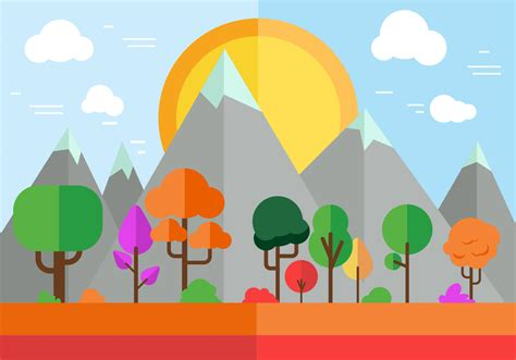 Free Colorful Vector landscape   Download Free Vector Art