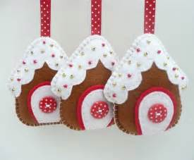 x3 gingerbread house felt decorations folksy