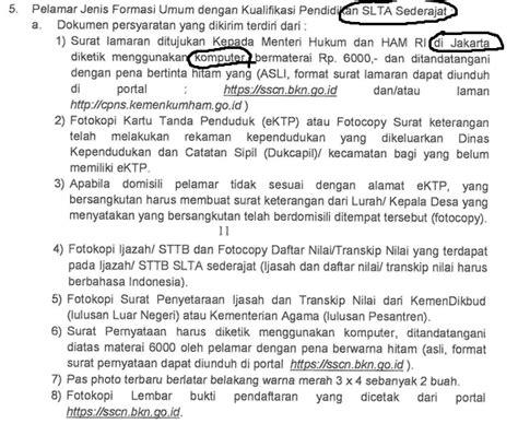 contoh surat lamaran dan surat pernyataan cpns penjaga