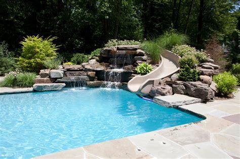 blue pools rock waterfall slide pools