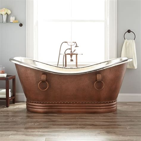 nickel bathtub 72 quot sawyer copper double slipper tub nickel interior