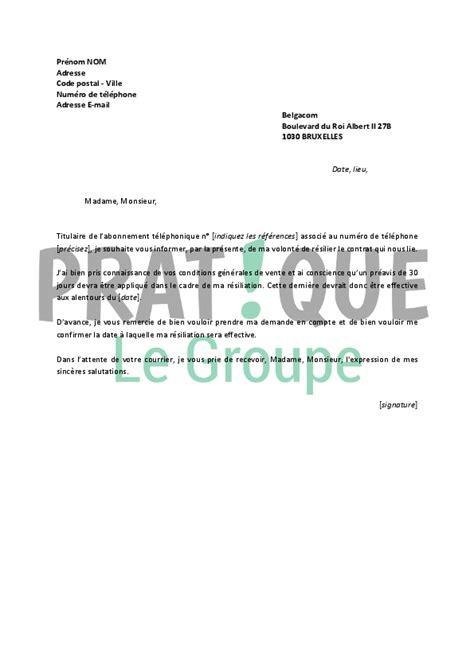 Resiliation Lettre Loisirs Lettre De R 233 Siliation Belgacom Pratique Fr