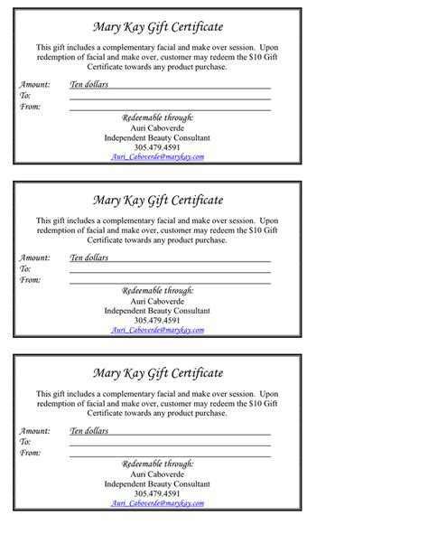 Mary Kay Gift Card - pin mary kay gift certificate template on pinterest