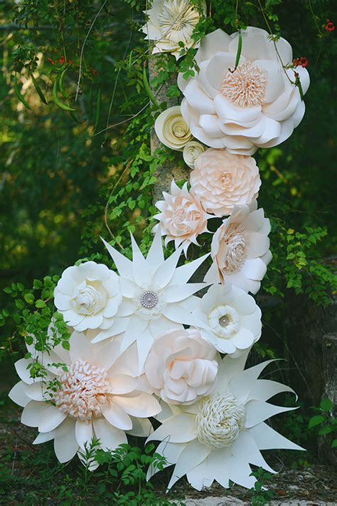 Make Paper Flowers Wedding - paper flower themed bridal inspiration wedding