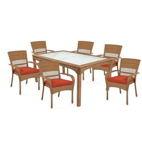 Martha Stewart Living Charlottetown Natural 7 Piece All Martha Stewart Patio Dining Set