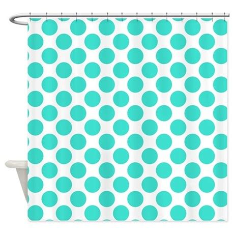 turquoise polka dot curtains white and turquoise polka dot shower curtain by polkadotted