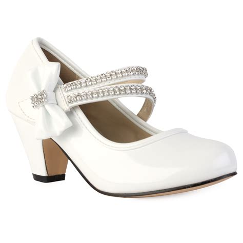 shoes for size 2 white patent shiny heeled diamante