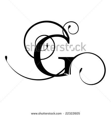 fancy cursive letter g sketch coloring page