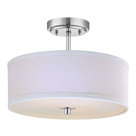 White Drum Ceiling Light Modern Chrome Ceiling Light With White Drum Shade 14 Inches Wide