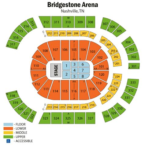 detailed seating chart bridgestone arena nashville tn bob seger april 21 tickets nashville bridgestone arena