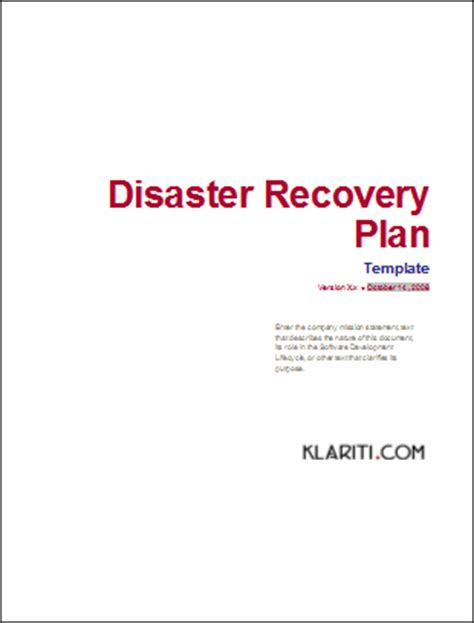 Disaster Recovery Procedures Template disaster recovery templates software software templates