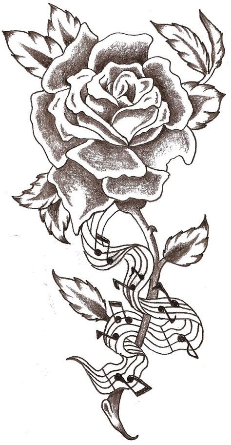 rose with music notes tattoo notes by thelob on deviantart