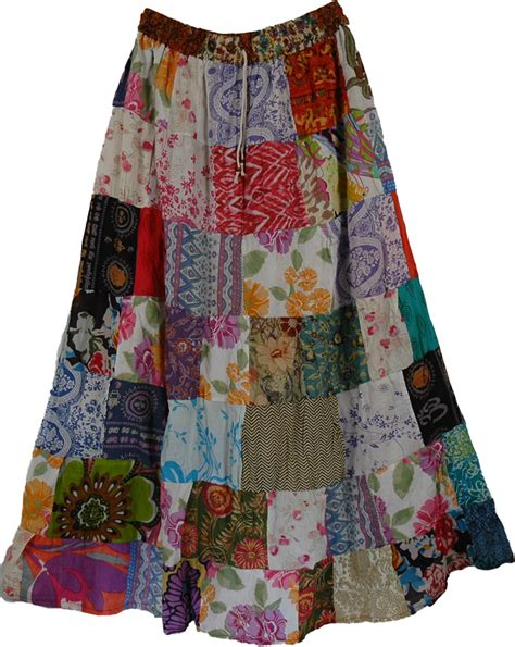 Patchwork Skirt - pearl hippy cotton skirt clothing patchwork