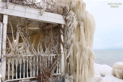 Frozen House by Crashing Waves Strong Winds And Freezing Temps Encase