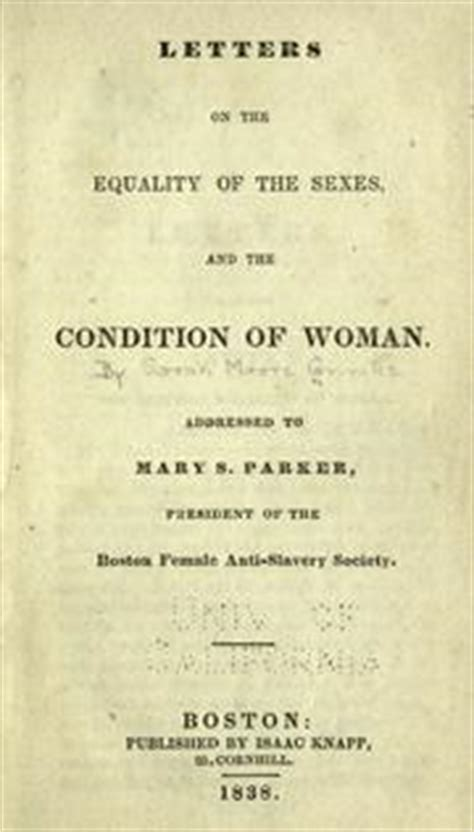 letters on the equality of the sexes and the condition of