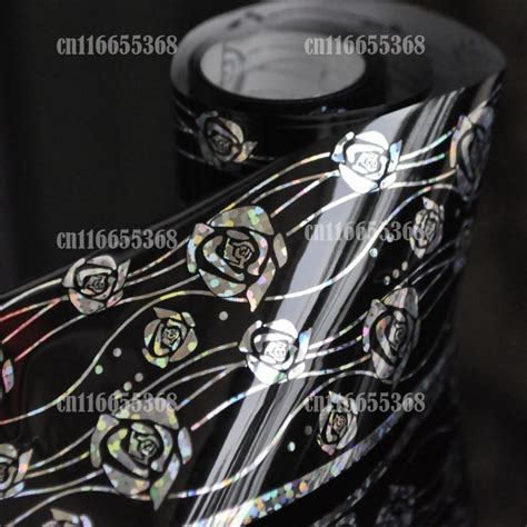 Ho1567w Nail Sticker Foil Roll Seri 1 nail transfer wrap decal black silver vines