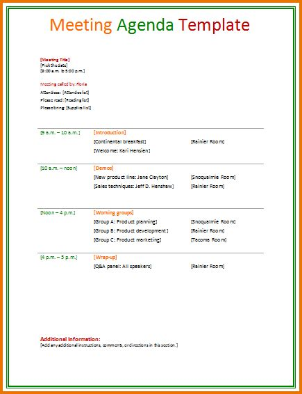 Template For Meeting Name Cards by 4 Business Agenda Divorce Document