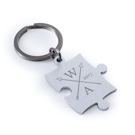 Personalized Puzzle Keychain custom engraved puzzle keychain