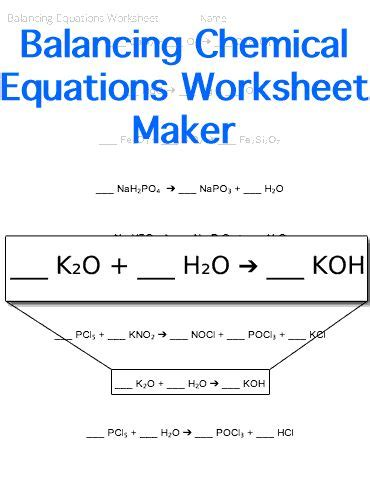 Balancing Chemical Equations Worksheet Middle School by Balancing Chemical Equations Worksheet Customizable