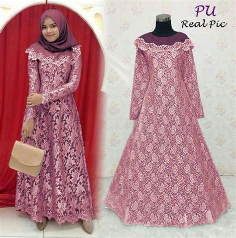 Gamis Remaja Warna Pink Gamis Pesta Remaja Liliana Brokat Baju Muslim Modern