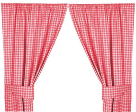 pink colour check kitchen curtains