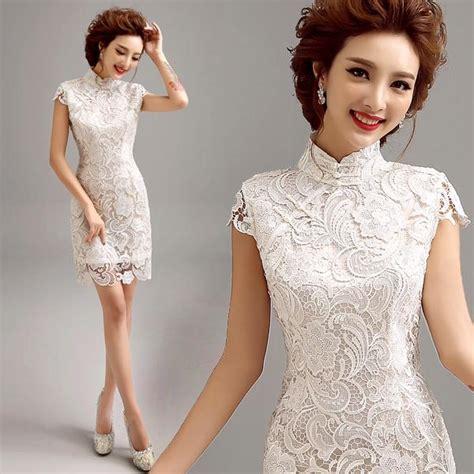 Brukat Cheongsam Collar 2016 luxury lace wedding white traditional
