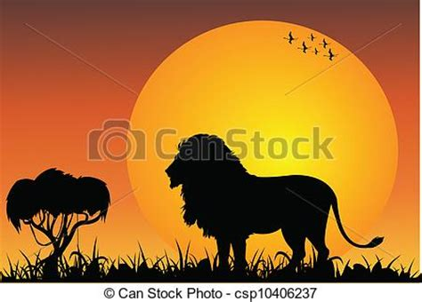 lion in the african savanna royalty free vector eps