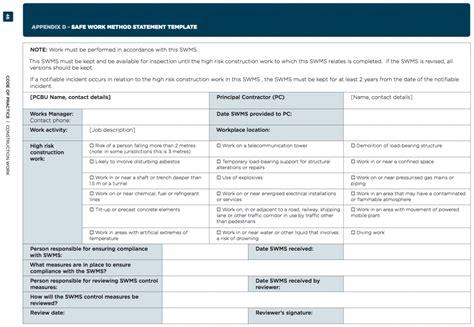 safe work method statement template free safe work method statement template best template idea