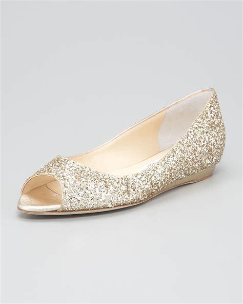 gold flat peep toe shoes jimmy choo beck peep toe flat wedge in metallic lyst
