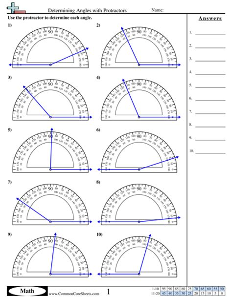 printable protractor with lines free printable math worksheets measuring angles angles