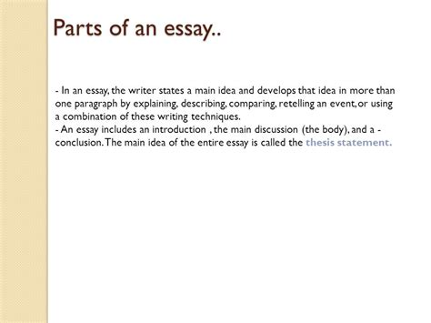 ppt three parts of an essay introduction body conclusion